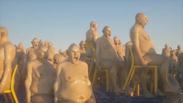 image hommes-nus-chaises-mer