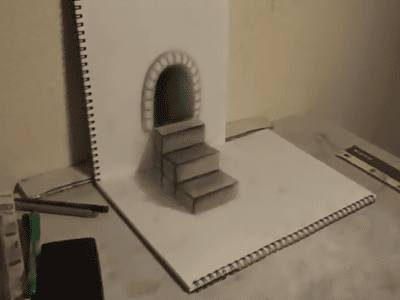 effet-3d-escaliers-grotte