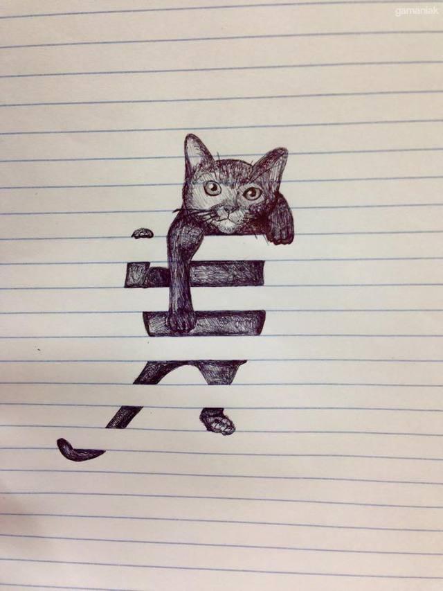 chat-grimpe-lignes-feuille-papier