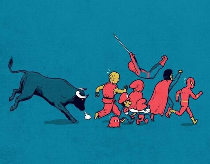 taureau-vs-personnages-rouges